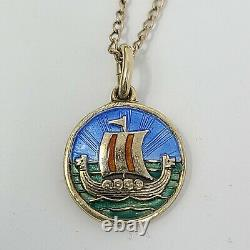 DAVID-ANDERSEN Norway 925 Sterling 12k GF Viking Ship Enamel Pendant Necklace