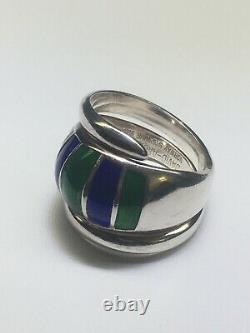 DAVID ANDERSEN Norway Sterling Silver Blue and Green Enamel Bypass Ring (Size 8)