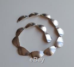 Danish 50's AARE & KROGH Sterling Silver Modernist Links Heavy Necklace 40gr