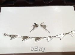 Danish Designer Bent K Knudsen Sterling Silver Modernist Bracelet Earring Set