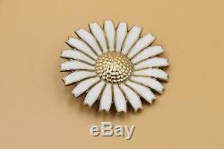 Danish Georg Jensen Daisy Brooch Gilded Silver w White Enamel 43 mm