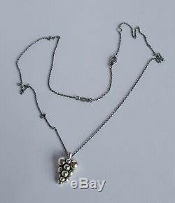 Danish Georg Jensen Silver 925s Small GRAPES Pendant Necklace