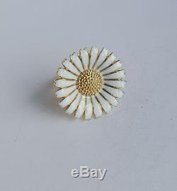 Danish Georg Jensen Silver 925s White Enamel Large DAISY Ring 32mm