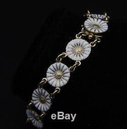 Danish Gilded Silver Daisy Bracelet with White Enamel by Georg Jensen