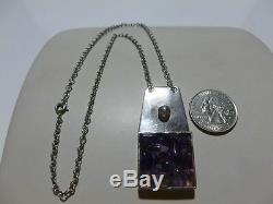Dansk Smykkekunst D. S. Denmark Sterling Silver & Amethyst Necklace Pendant
