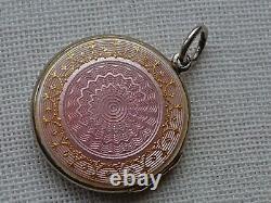 David Andersen, 2 Sided, Antique Vintage Sterling Pink Guilloche Enamel Locket