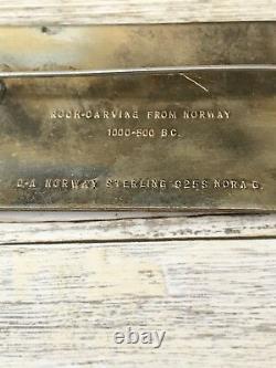 David Andersen Enamel Brooch Pin Rock Carving From Norway Sterling Silver Enamel