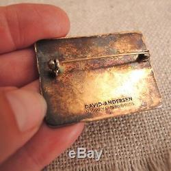 David Andersen Enamel Four Seasons Spring Brooch Norway Modern Sterling Silver