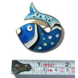 David Andersen Fish Brooch D. A. Norway Vintage 925 Sterling Enamel Pin Cloisonne