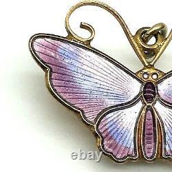 David Andersen Norway 925S Guilloche Three Shade Enamel 1950's Butterfly Pendant