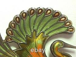 David Andersen, Norway, Signed, Olive Green & Gold Peacock Pin STERLING Perfect