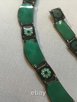 David Andersen Norway Sterling Green Enamel Guilloche Necklace and Bracelet