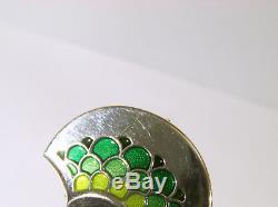 David Andersen Norway Sterling & Green Enamel Modernist Pin / Pendant w Dangles