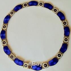 David Andersen Norway Sterling Silver Cobalt Blue And Flower Enamel Link Neckla