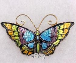 David Andersen Norway Sterling Silver Enameled Butterfly Brooch I-11090