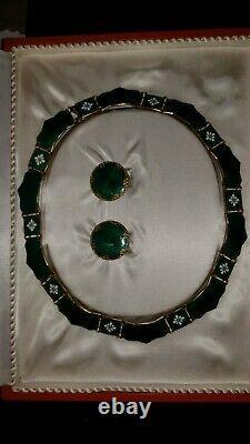 David Andersen Norway Sterling Silver & Green Enamel Floral Necklace & Earrings