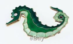 David Andersen Norway Sterling Silver Seahorse Triple Green Enamel Pin Brooch