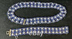 David Andersen Norway Sterling Silver and blue Enamel Necklace and Bracelet! Wow
