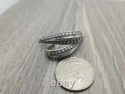 David Andersen Norway Viking Saga Sterling Silver Long Half Hoop Earrings