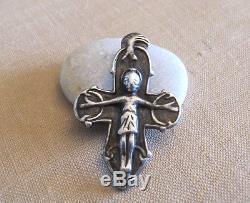 David Andersen Norway Vintage Modernist Cast Sterling Silver Rare Cross Pendant