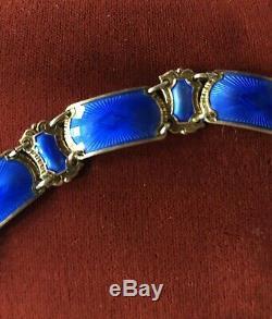 David Andersen Norway Vintage Sterling Silver Blue Enamel Bracelet