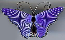 David Andersen Norway Vintage Sterling Silver Egyptian Blue Enamel Butterfly Pin