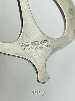 David Andersen Norway Vintage Sterling Silver Modernist Ship Pendant Necklace