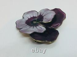 David Andersen Norway Vintage Sterling Silver Purple Enamel Pansy Flower Pin
