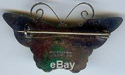 David Andersen Norway Vintage Sterling Silver Sunny Yellow Enamel Butterfly Pin