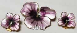 David Andersen (Purple Flowers) Vintage Sterling Silver Enamel Brooch/Earrings S
