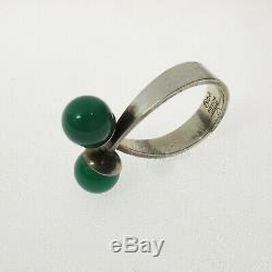 David-Andersen Sterling Chrysoprase Ring D-A Norway Willy Winnaess Hallmark