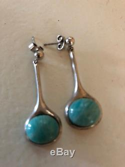 David Andersen Sterling Silver Amazonite earrings Norway Norwegian Original box