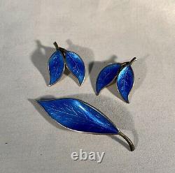 David Andersen-Sterling Silver-Blue Guilloche Enamel Earrings & Brooch-Norway