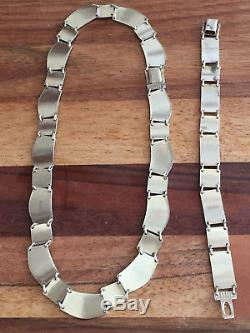 David Andersen Sterling Silver Enamel Necklace, Bracelet set Norway