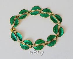 David Andersen Sterling Silver Modernist Green Enamel Leaf Bracelet