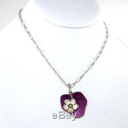 David Andersen Sterling Silver Vtg Purple White Enamel Lily Pad Pendant LDA49