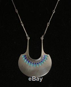David Andersen Vintage Norwegian Sterling Silver and Enamel Modernist Necklace