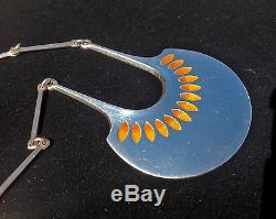 David Anderson 1966 Norwegian Modernist Sterling Enamel Pendant Necklace