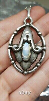Denmark Art Nouveau Grann&Laglye silver pendant with moonstone