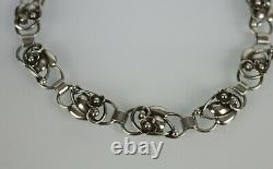 Denmark Fir. Munksgaard Sterling Silver Choker Necklace Flower & Leaf Motif