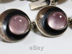 Denmark Modern Niels Erik N. E. FROM Sterling Silver & Pink Quartz link Bracelet