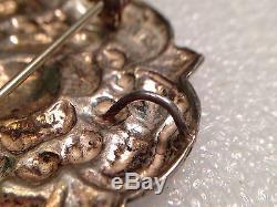 Dragestil Norwegian 830 Silver Henrik Moller Trondheim Rose Brooch Pendant