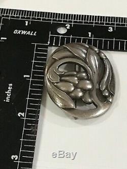 Early Sterling GEORG JENSEN Pin Brooch Blossom Leaf design no. 65 Denmark