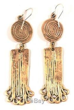 Eivind Hillestad Norway Norwegian Modernist Earrings Bronze Vintage Eh Signed
