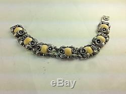 Elegant Vintage Sterling & Stone Flowers Bracelet & Earrings By N. E FROM-Denmark