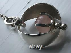 Elis Kauppi Kupittaan Kulta Sterling Silver Rose Quartz Pendant Necklace