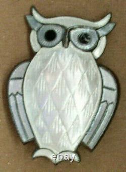 Enamel Owl by David Andersen 925 Sterling Silver Brooch Vintage Blue/White Mint