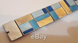 Estate vintage David Andersen enamel bracelet 1960s sterling silver midcentury