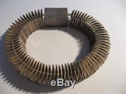 Exquisite Huge Modernist Malysz Designs Sterling Accordion Style Bracelet-111 Gr