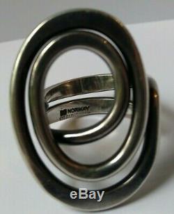 Extra Large Vintage Nd Norway Design Plus Studio Modernist Sterling Spiral Ring